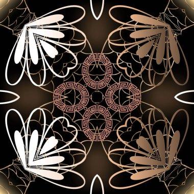 """Картина, постер, плакат, фотообои """"цветочный греческий вектор бесшовный узор. абстрактный геометрический перламутровый фон с сеткой, цветами, галошонами, кругами, греческим ключом, меандрами, увы, линиями. красивые декоративные современные украшения . арт ван гог"""", артикул 355835742"""