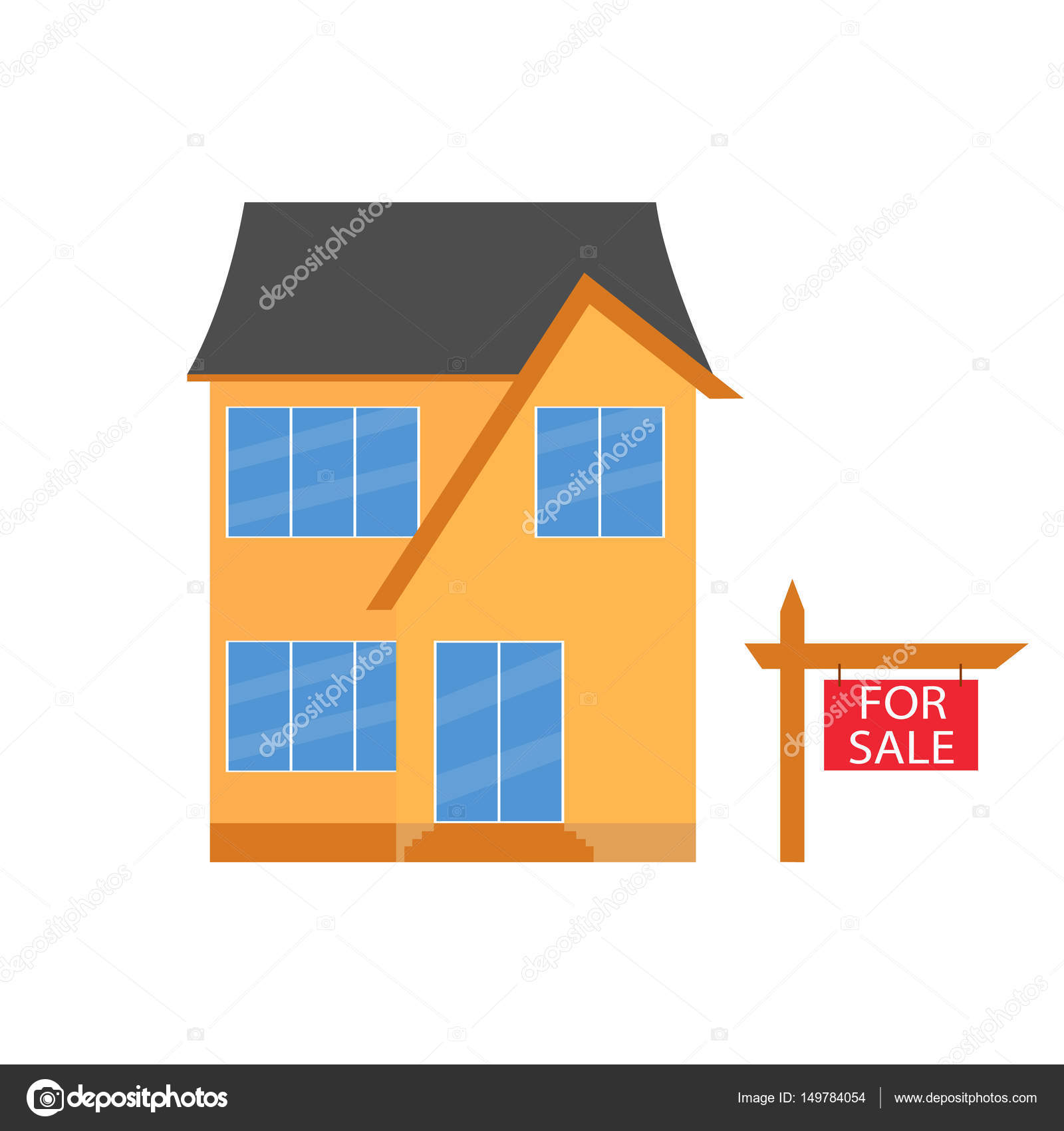 Bunte Haus Konzept. Für den Verkauf. Flache Haussymbol. Entwerfen ...