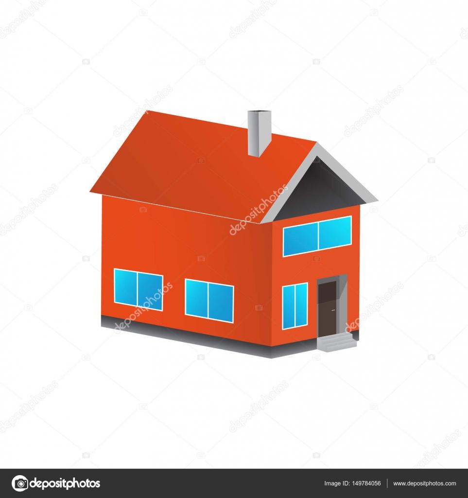 bunte Haus 3D-Konzept. Flache Haussymbol. Entwerfen Sie Ihr eigenes ...