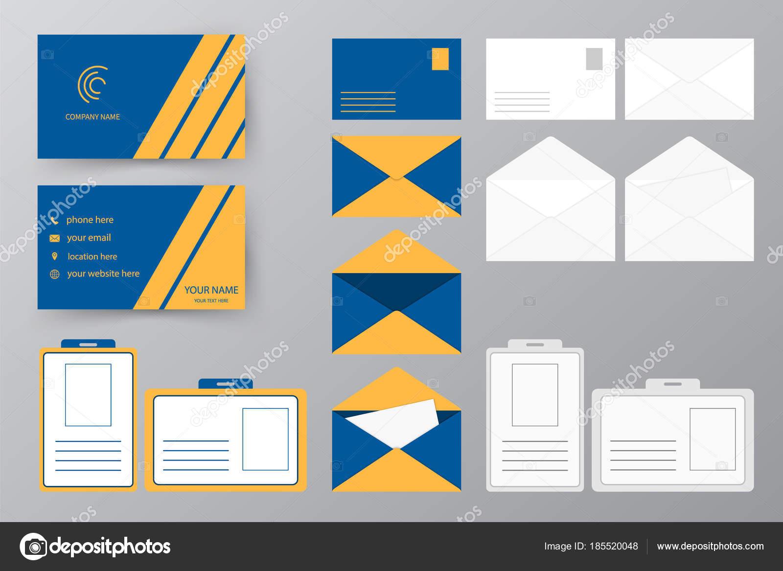 Collection De Style Personnel Conception Dillustration Vectorielle Aux Entreprises Et Personnels Utilisez Jeu Carte Visite Avec Enveloppe Dun