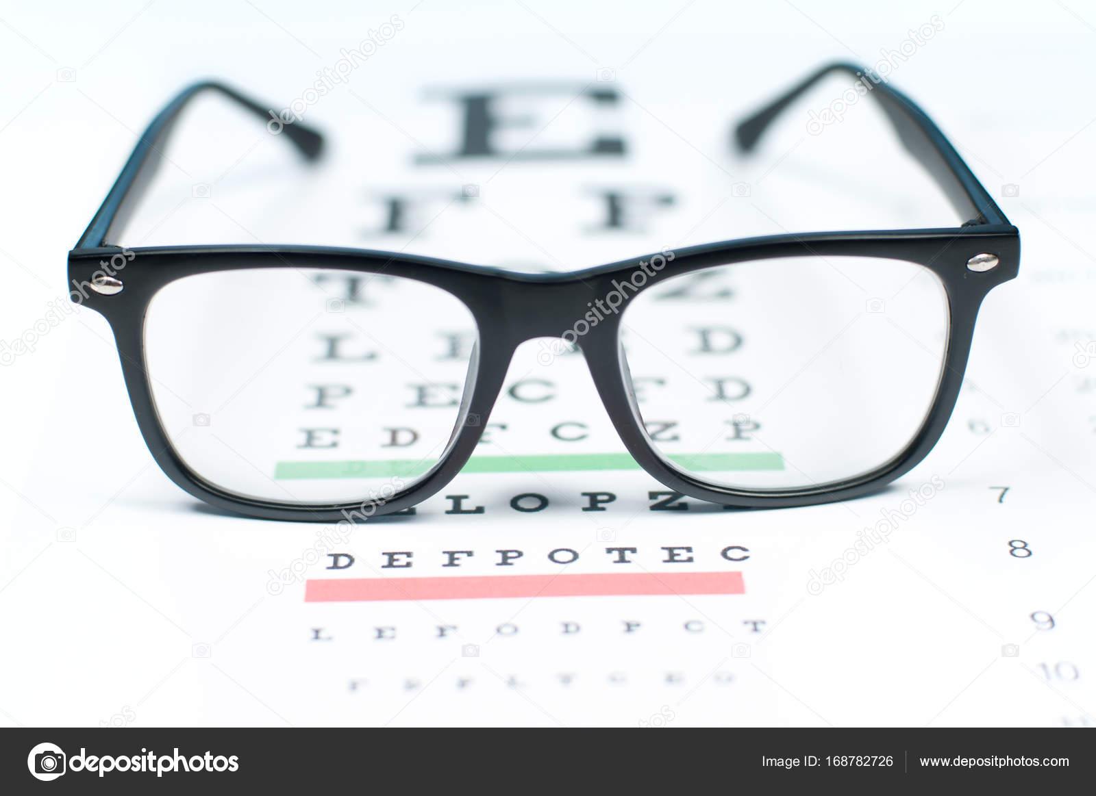 8e76e778c37 Eye vision test chart seen through eye glasses. Prescription glasses sitting  on an eye test chart — Photo by ...