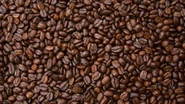 Coffee beans. Roasted coffee beans falls down from hands in slow motion