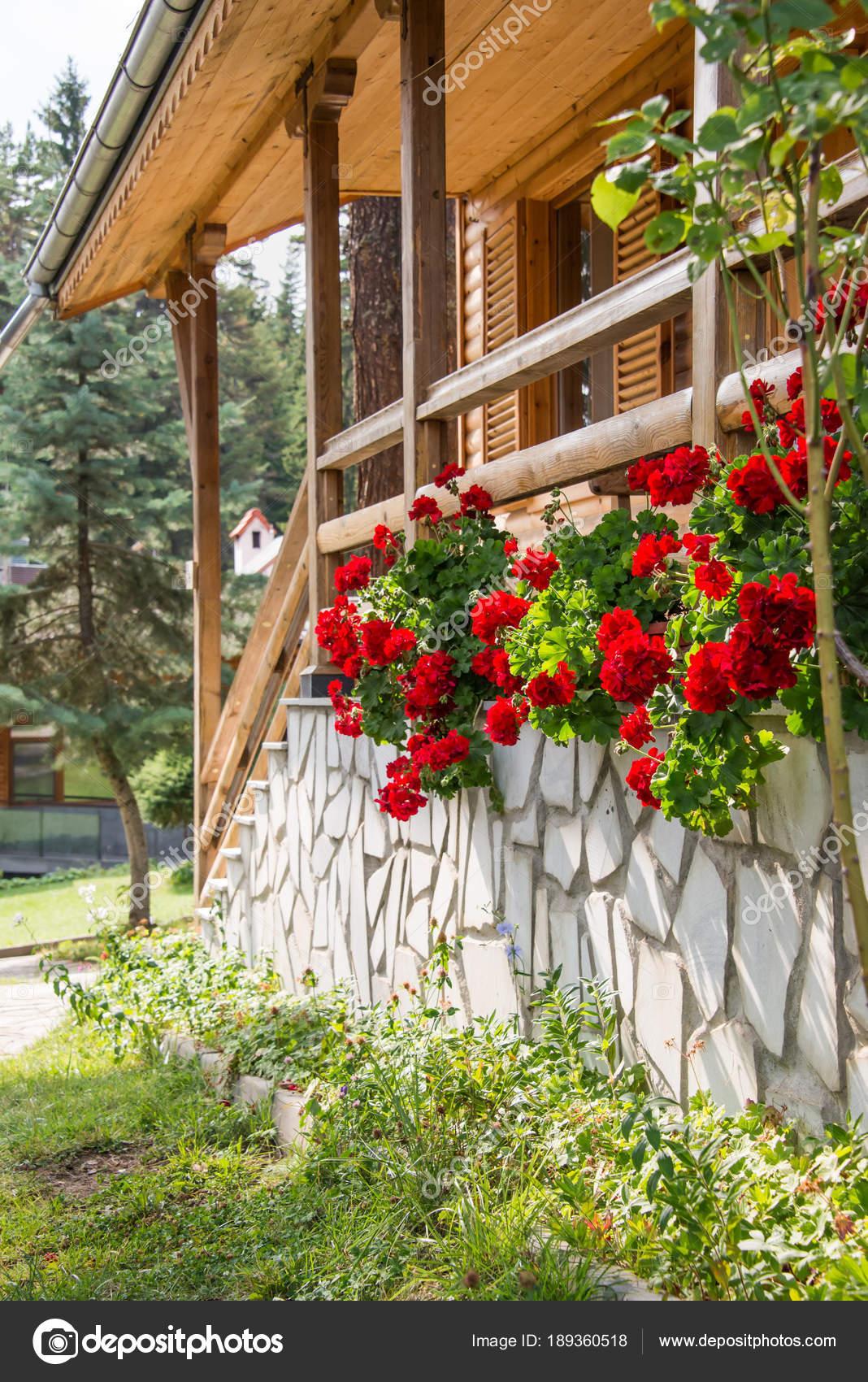 Terraza Soleada De Una Casa De Madera Decorado Con Rojo