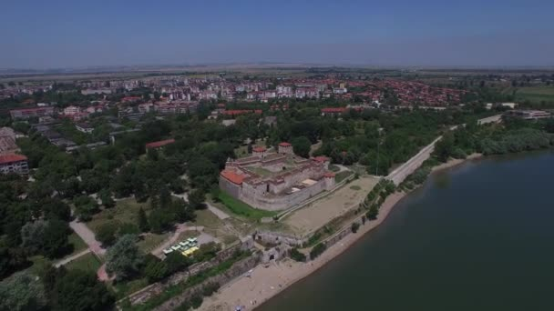Aerial of Baba Vida fortress on the Danube river