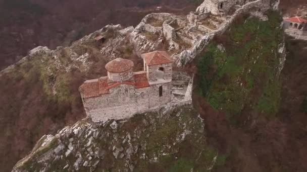 Flight around the church of medieval fortress