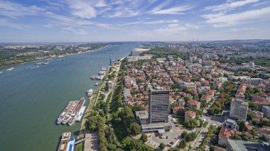Aerial view of Ruse port at Danube river, Bulgaria