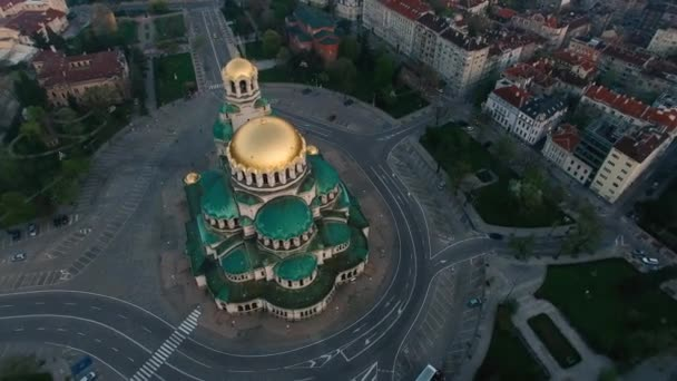 Aerial footage of St. Alexander Nevsky Cathedral, Sofia, Bulgaria
