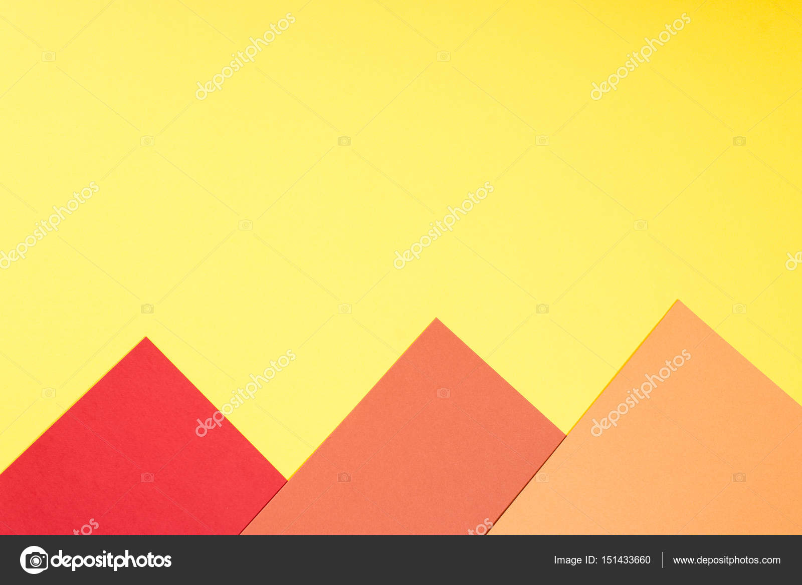Color papers geometry flat composition background with yellow, red ...