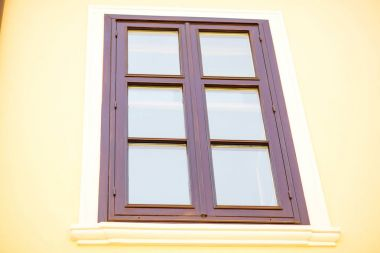 Old wooden window on the house. stock vector