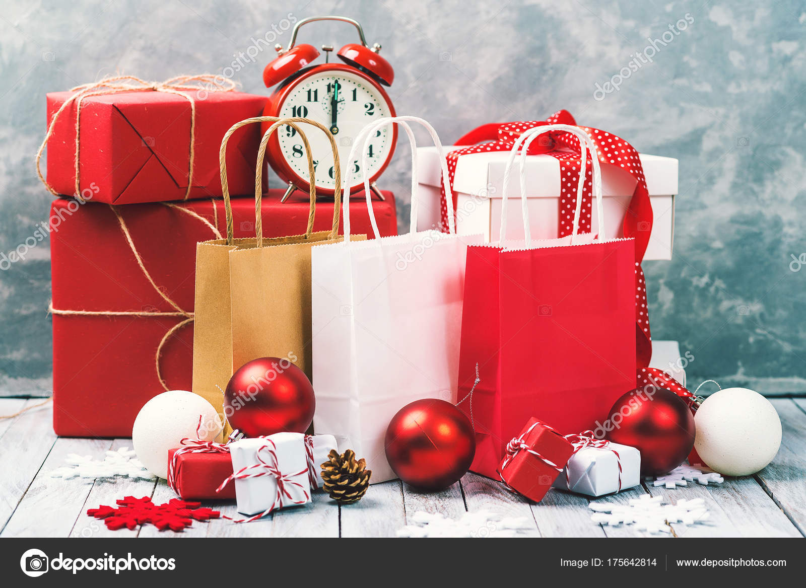 Christmas background with gift boxes and shopping bags. Christmas ...