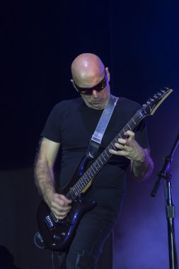 American guitarist Joe Satriani playing during 2015 italian tour