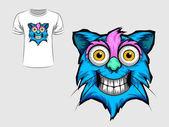 Fotografia Disegno grafico astratto del fronte del gatto per t-shirt o un banner di stampa