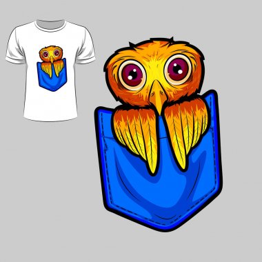 Abstract graphic design of owl for t-shirt or banner print. Vector illustration clip art vector