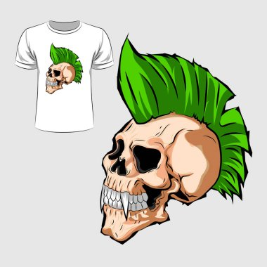 Abstract graphic design of punk skull for t-shirt or banner print