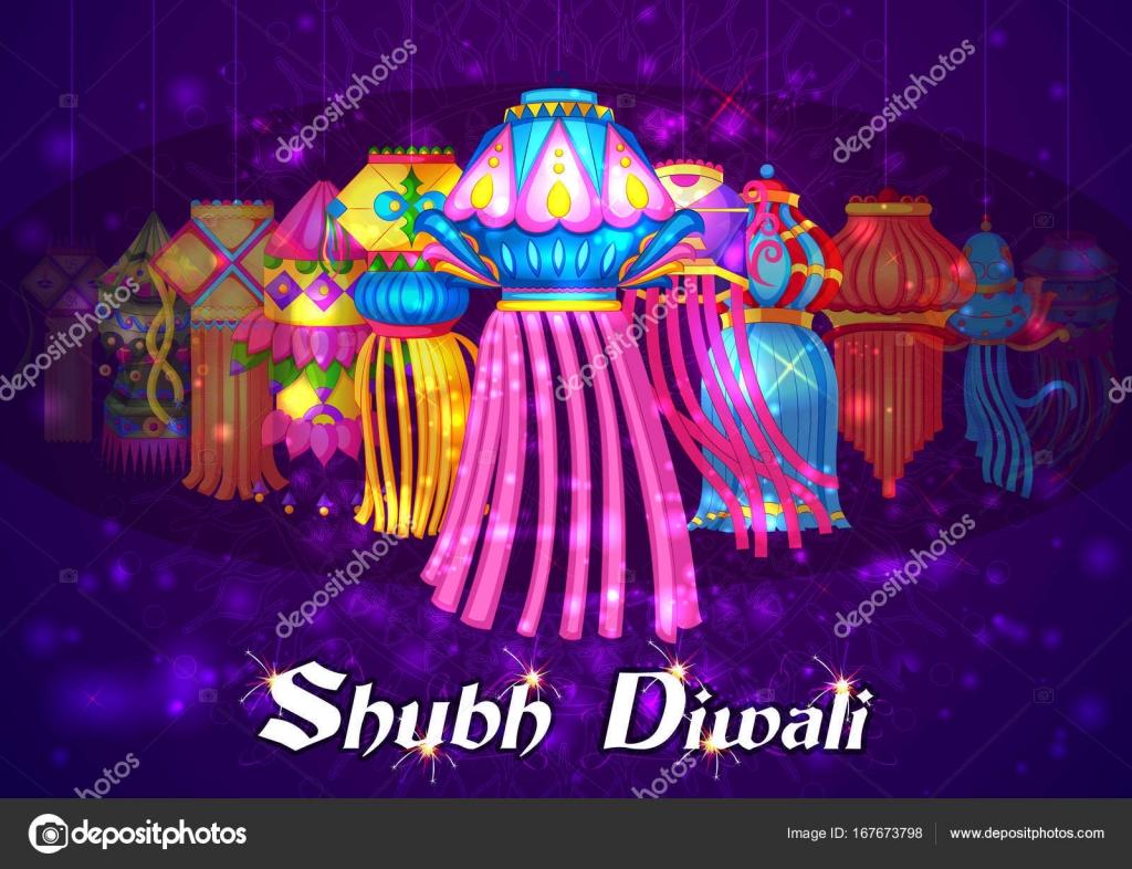 Diya Et Lampe Suspendue Dans La Nuit De Joyeux Diwali Celebre Fete