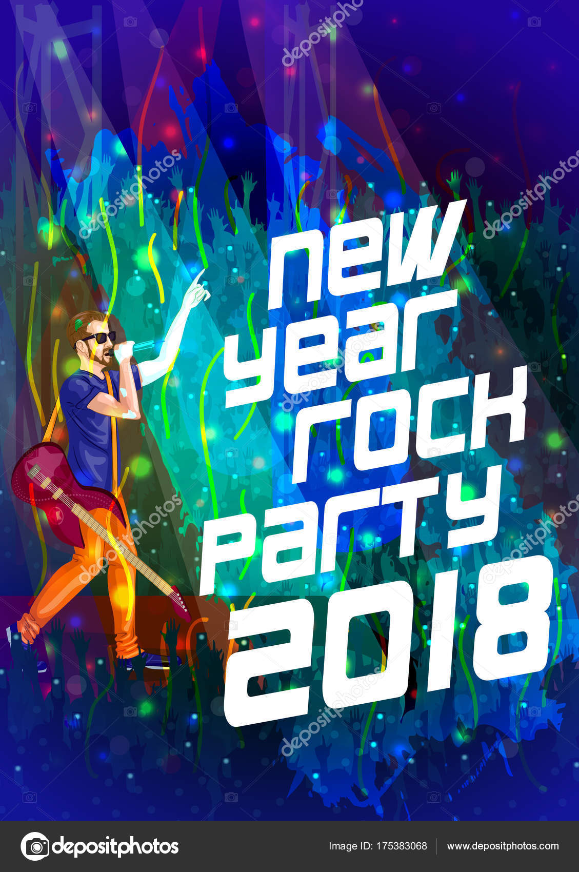 happy new year dj disco party celebration banner invitation template background stock vector
