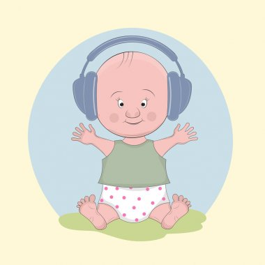 Cute  baby boy in a  headphones listening to music on a light background. Greeting card