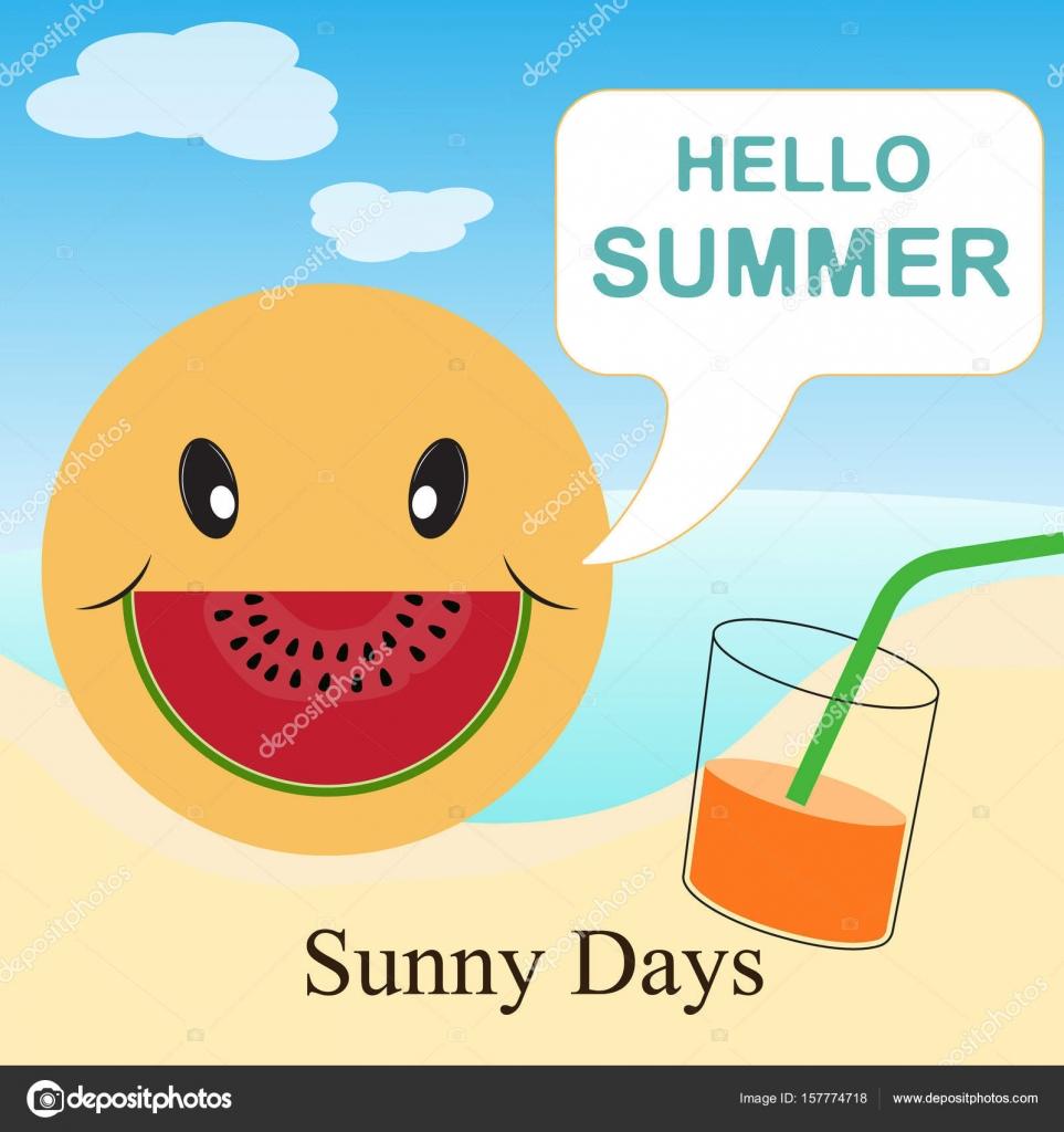Sommer Urlaub Vorlage mit Strand, Meer, Zubehör, Getränk und Lächeln ...