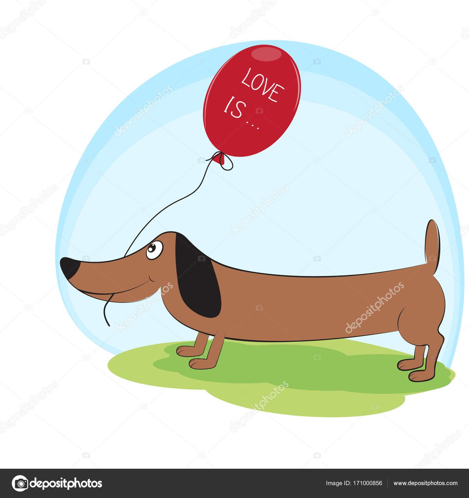 Greeting Card Cute Dog Dachshund With Balloon Stock Vector