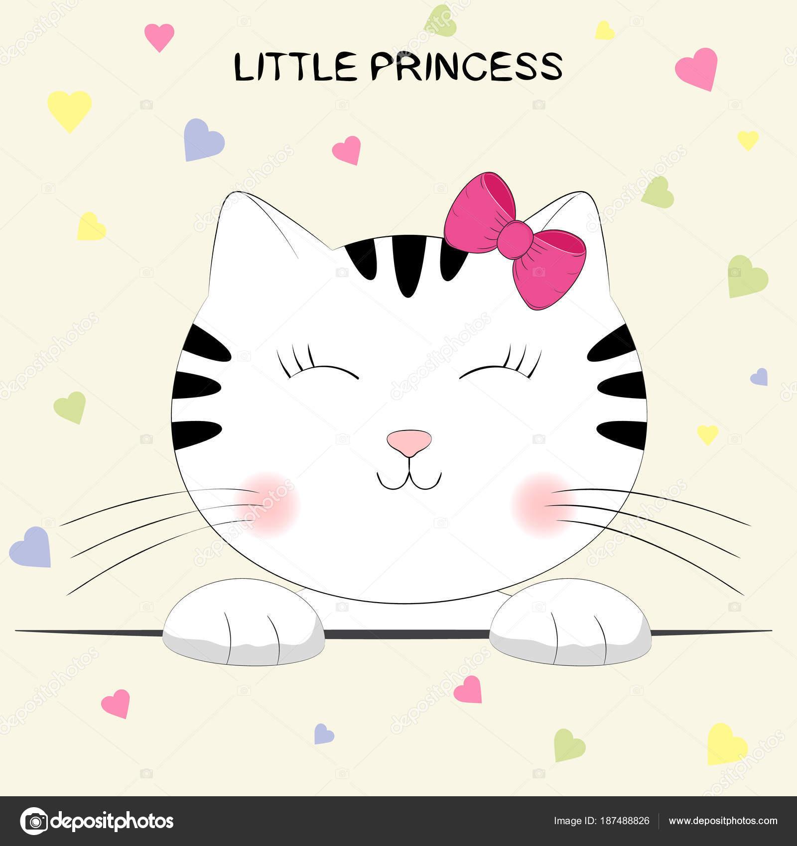 Gatito de dibujos animados lindo. Cabeza de gato con letras pequeña ...