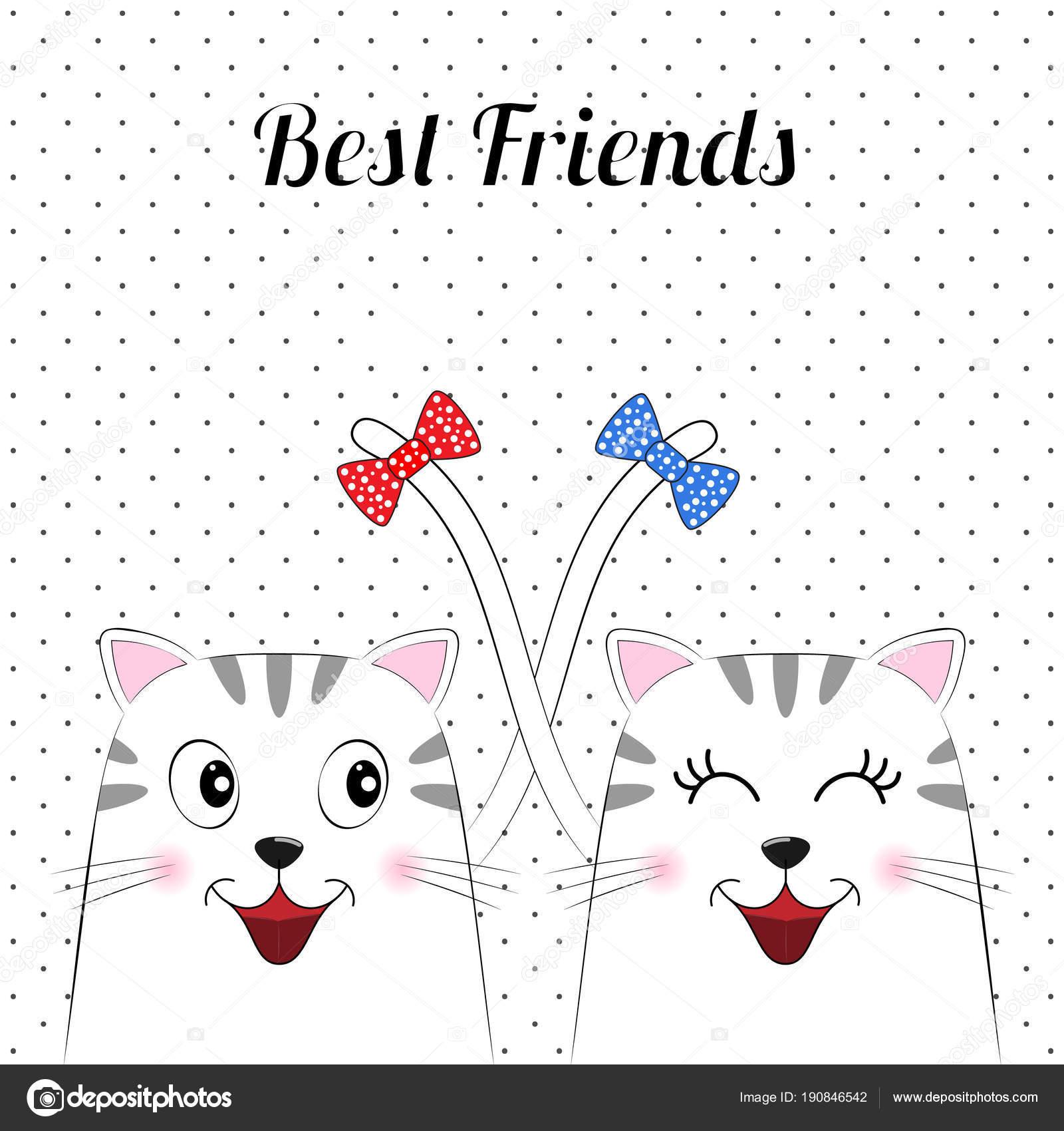 Dibujos Para Mejores Amigos Dos Dibujos Animados De Gatos Lindos