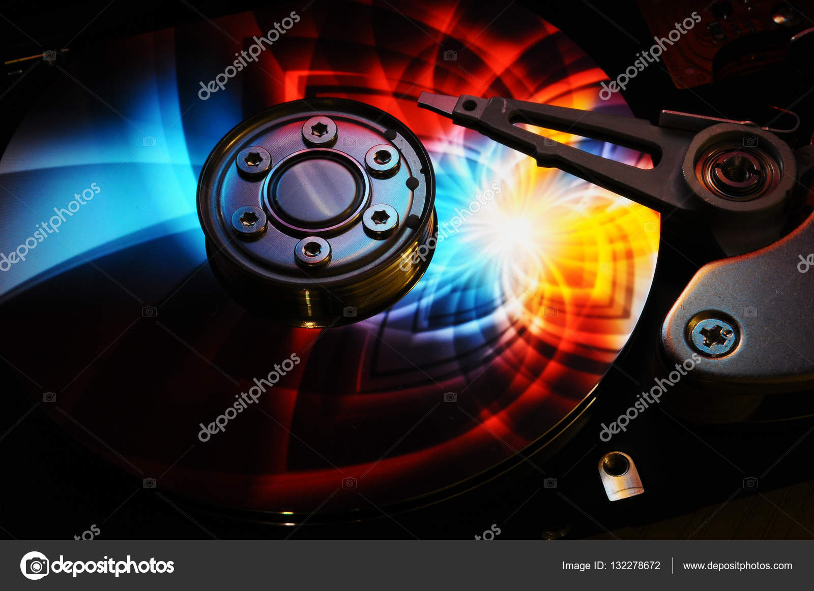 Hard Disk Drive With Abstract Color Reflection Stock