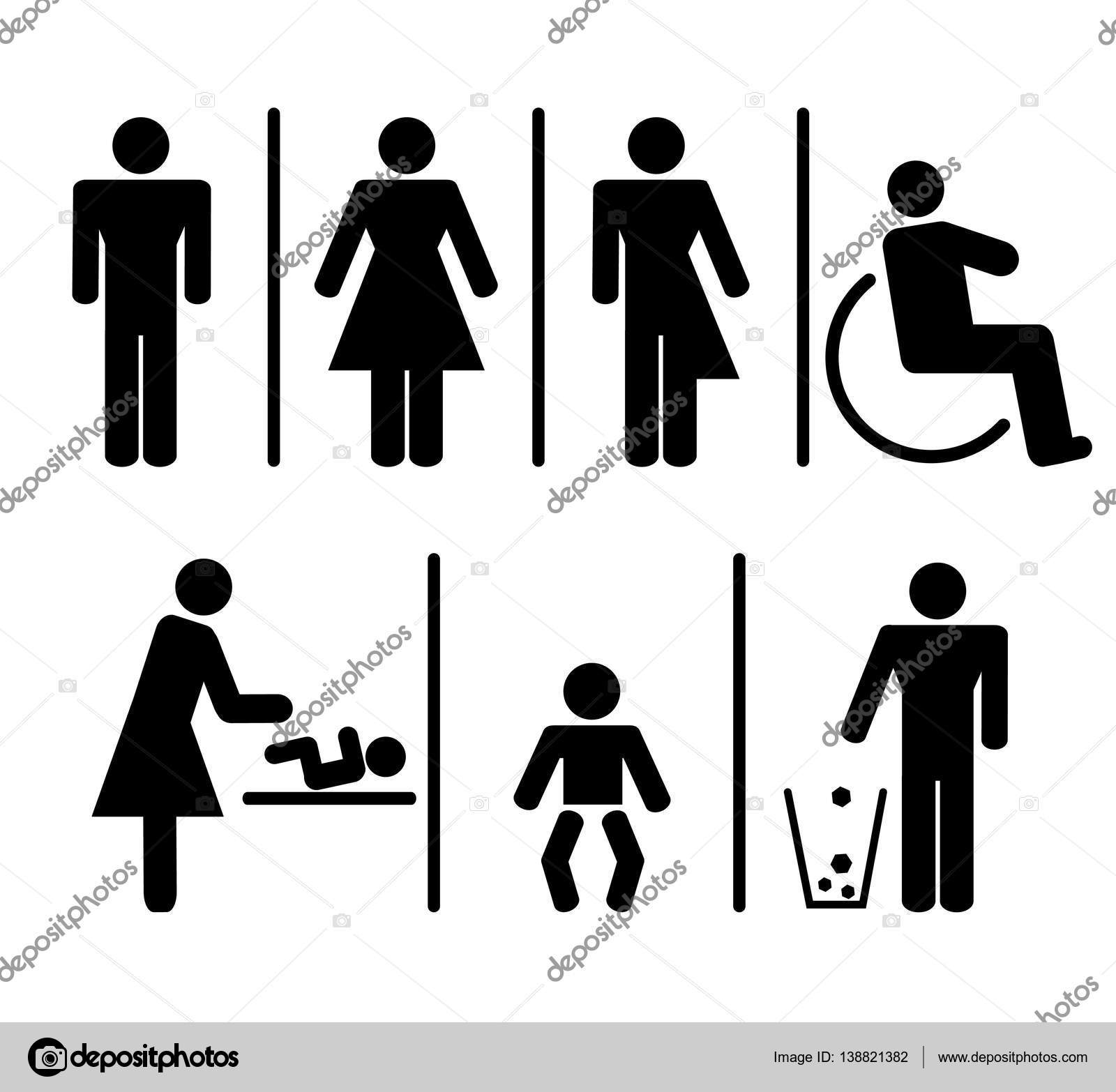 Toilet Restroom And WC Signs For Men Women Trans Gender Disabled Baby Care Garbage