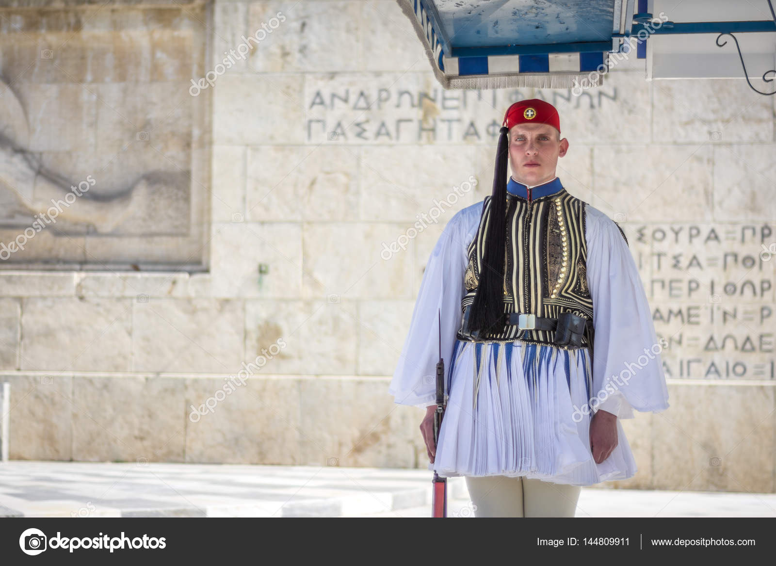 Athens, Greece - March 5, 2017: Evzonas dressed in