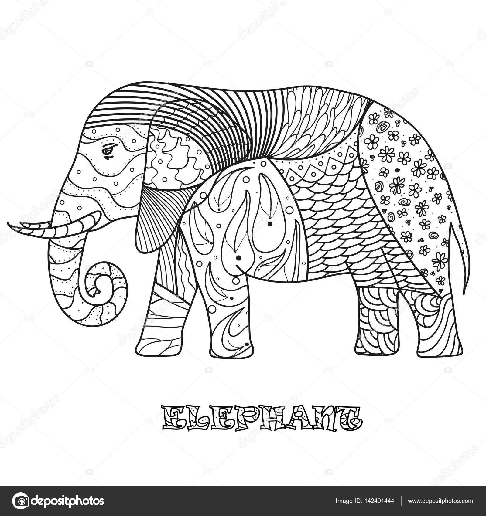 Elefante. Diseño Zentangle — Archivo Imágenes Vectoriales ...