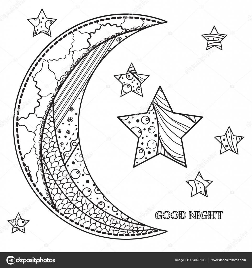 Imágenes Estrella Y Luna Para Colorear Zentangle Luna Y