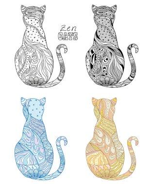 Zen cats. Design Zentangle.