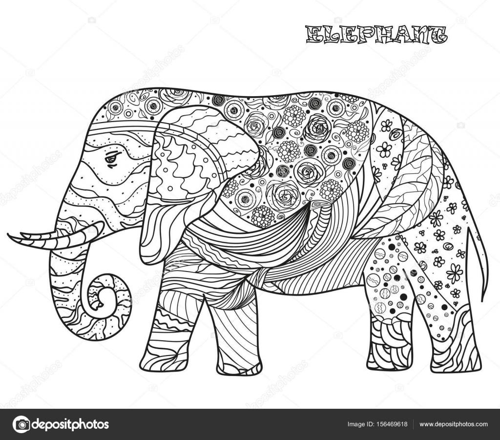Elefante. Diseño Zentangle — Vector de stock © MikaBesfamilnaya ...