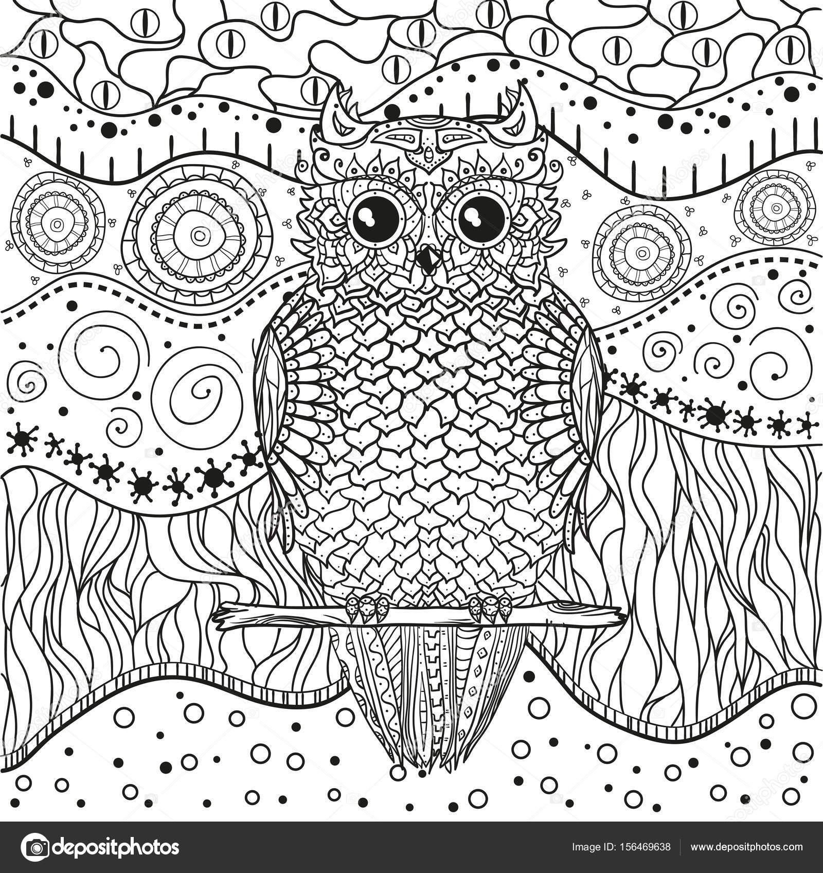 Mandala With Owl Stock Vector C Mikabesfamilnaya 156469638