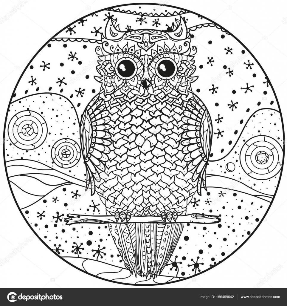 Mandala De Búho Archivo Imágenes Vectoriales Mikabesfamilnaya