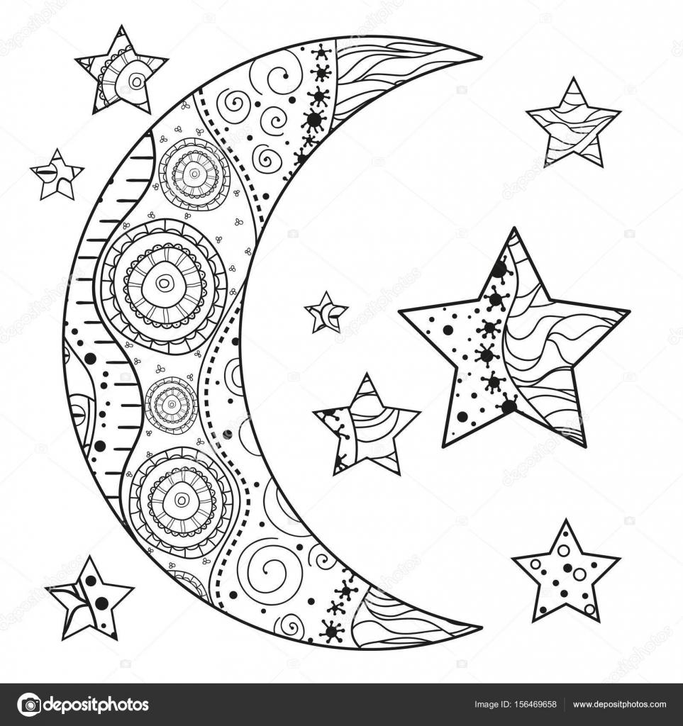 Zentangle Ay Ve Yıldız Soyut Desenler Ile Stok Vektör