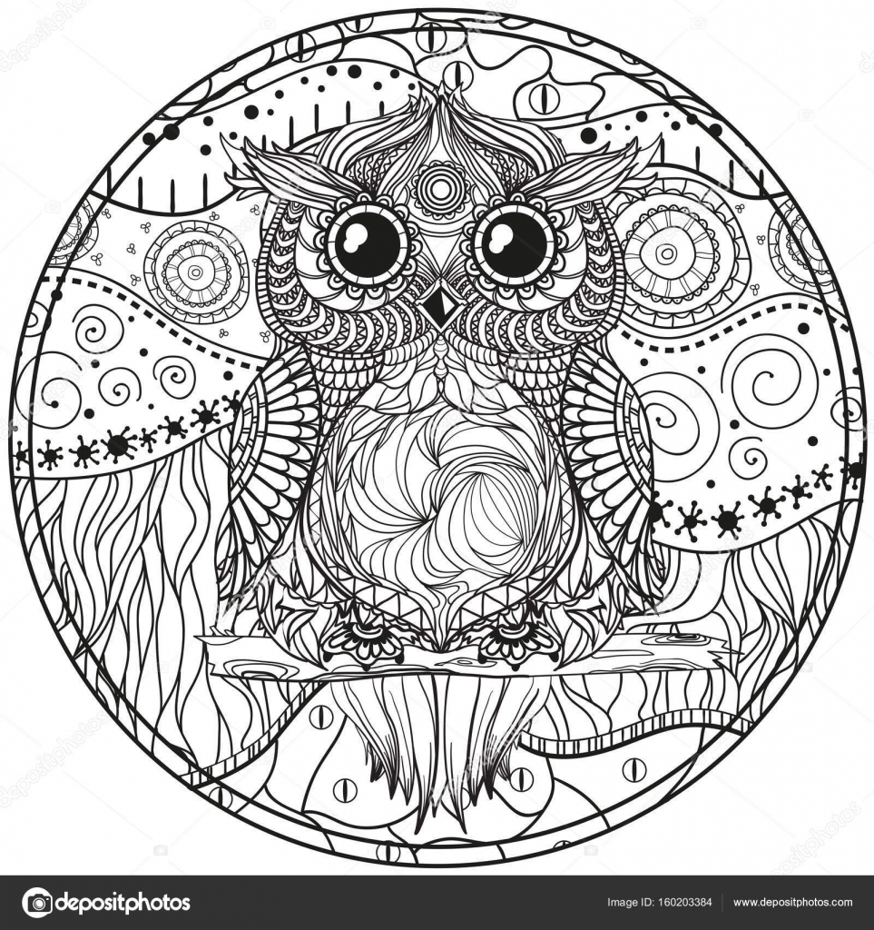 mandala with owl stock vector  u00a9 mikabesfamilnaya 160203384 Beautiful Owl Art Wicked Owl Art