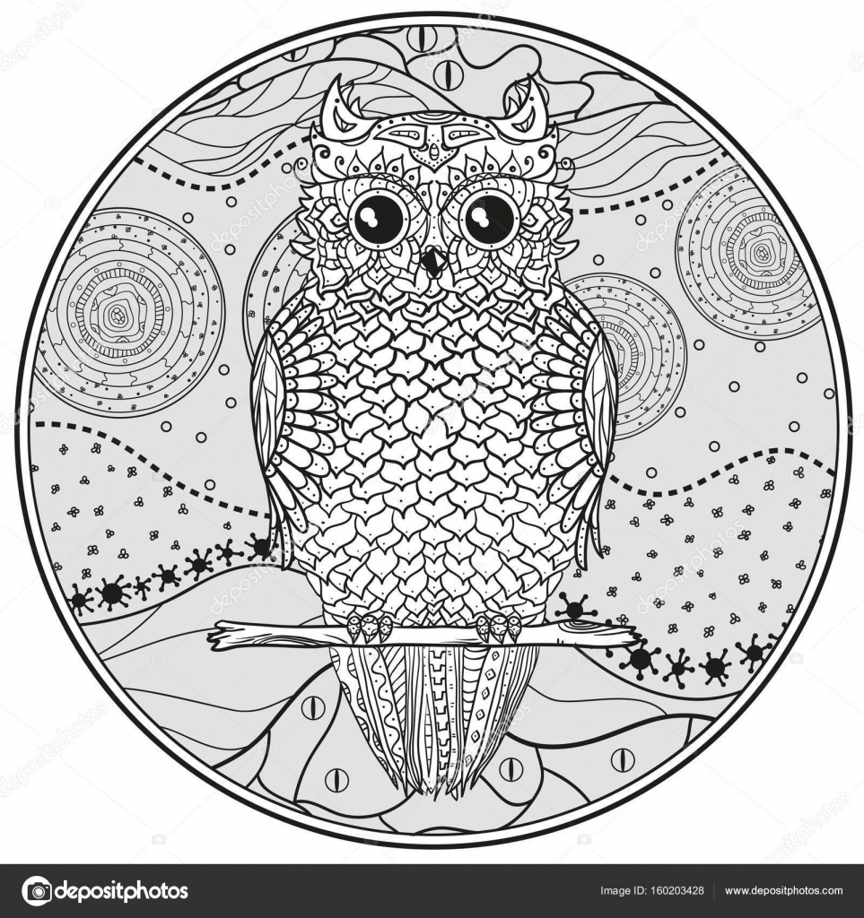 Mandala With Owl Stock Vector C Mikabesfamilnaya 160203428
