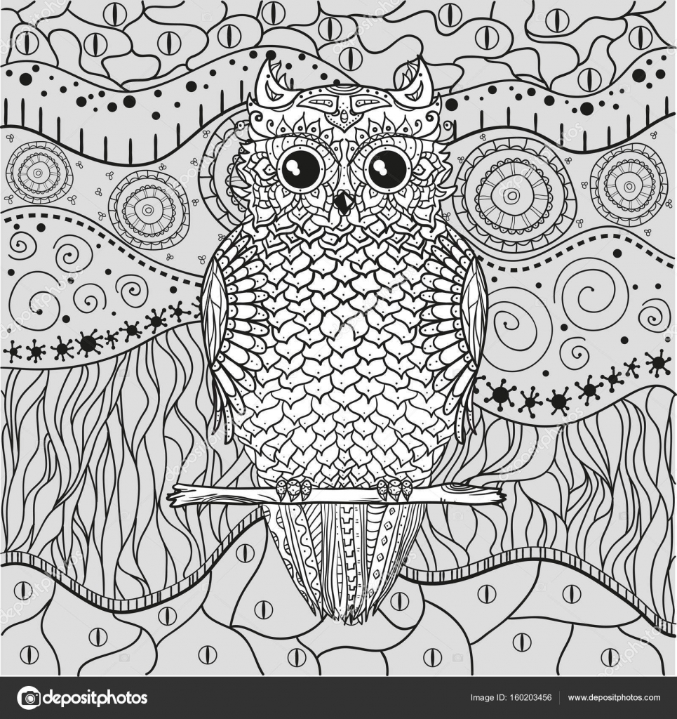 Mandala With Owl Stock Vector C Mikabesfamilnaya 160203456