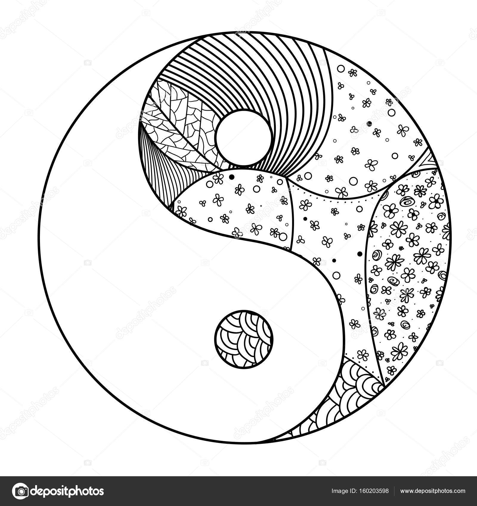 Yin und Yang. Zentangle — Stockvektor © MikaBesfamilnaya #160203598