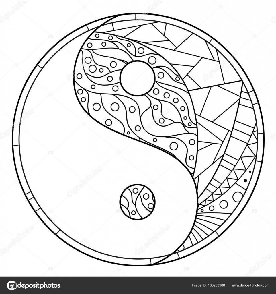 kleurplaat volwassenen vissen yin yang
