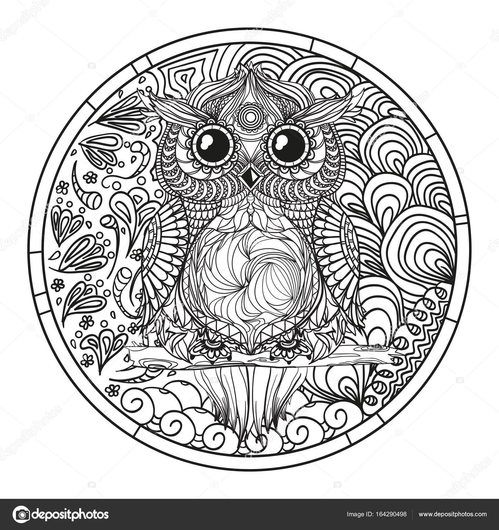 Mandala. Buho. Zentangle — Archivo Imágenes Vectoriales ...