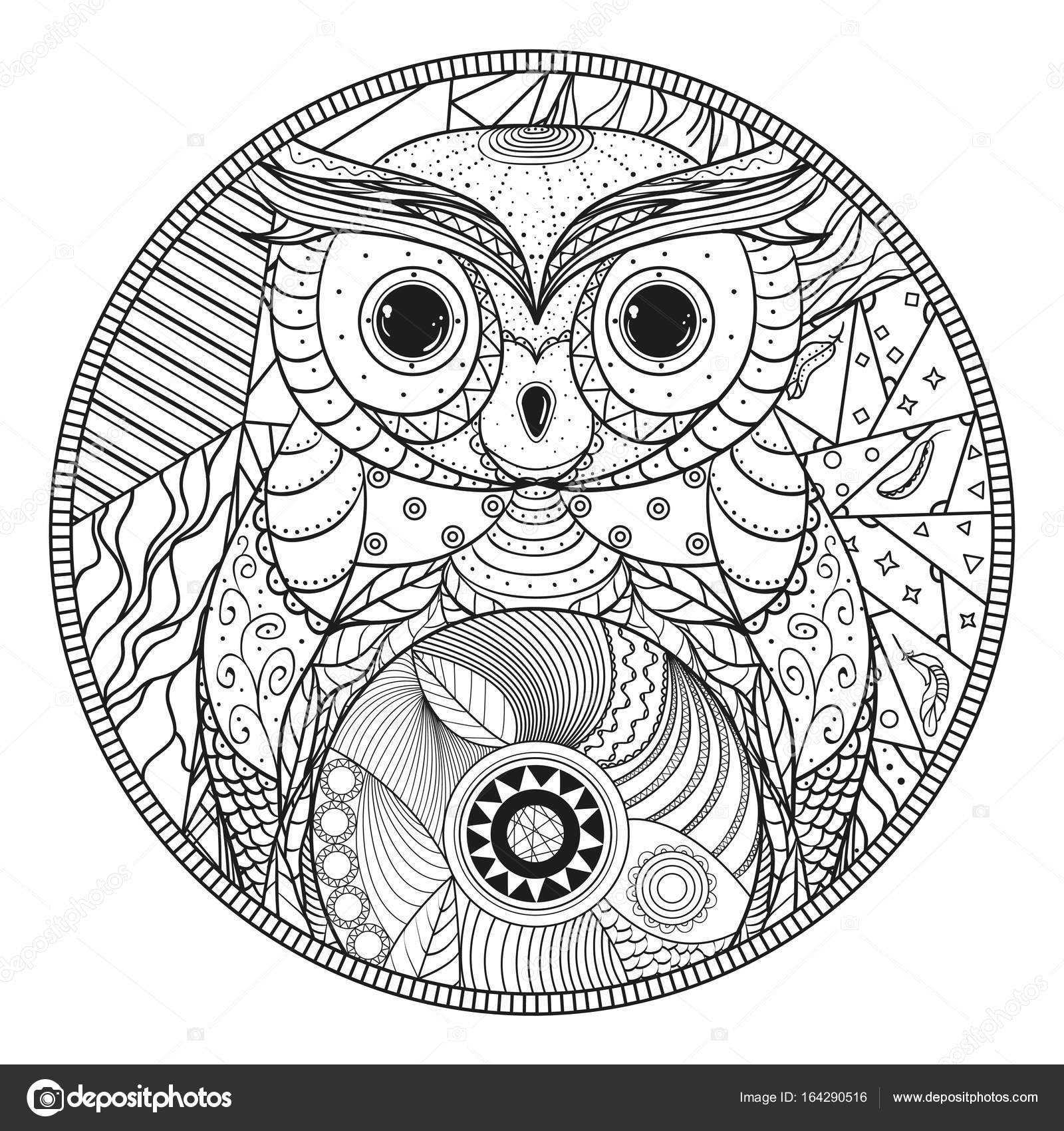 Mandala Chouette Zentangle Image Vectorielle