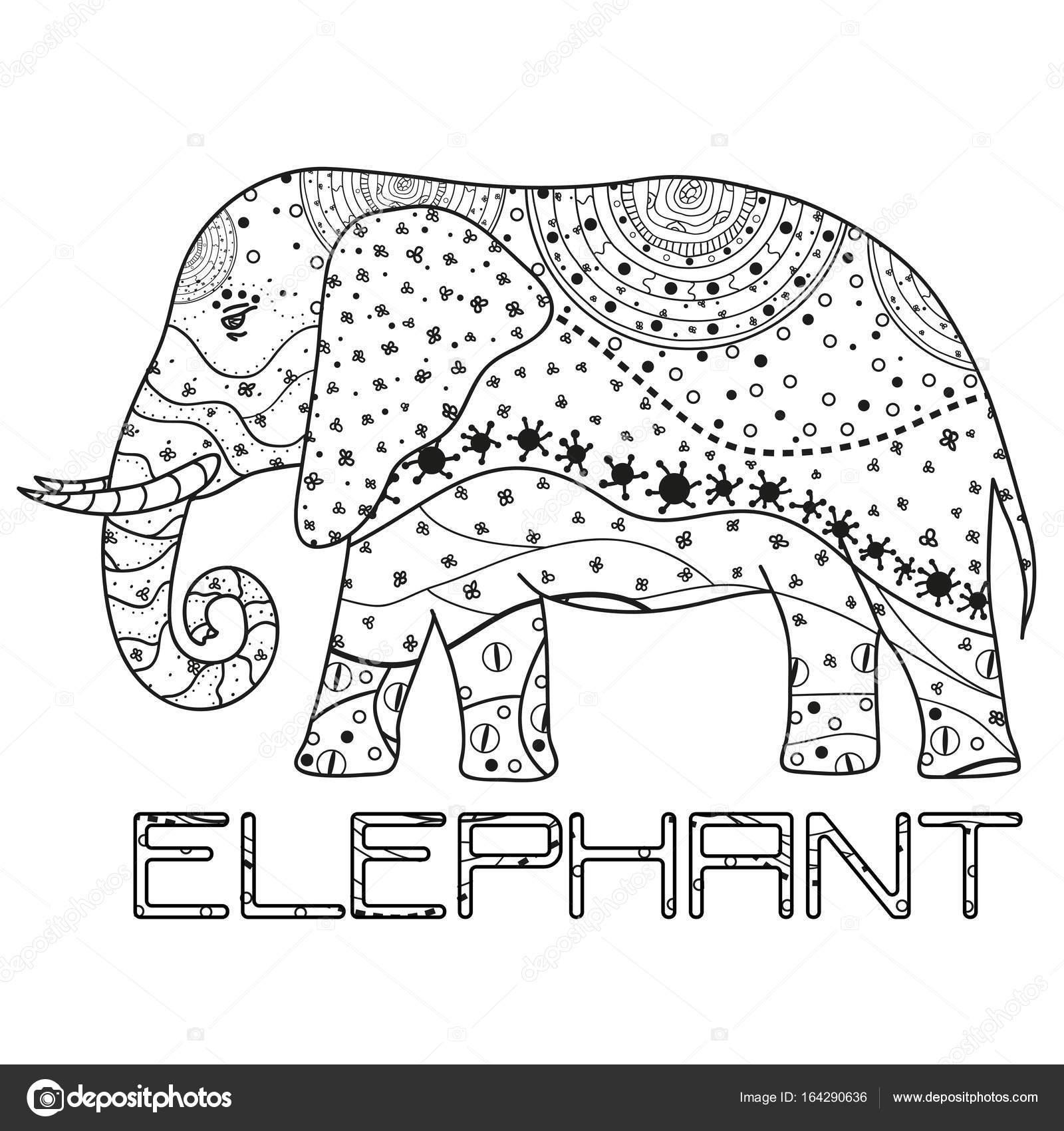 Elefante. Arte Zen — Vector de stock © MikaBesfamilnaya #164290636