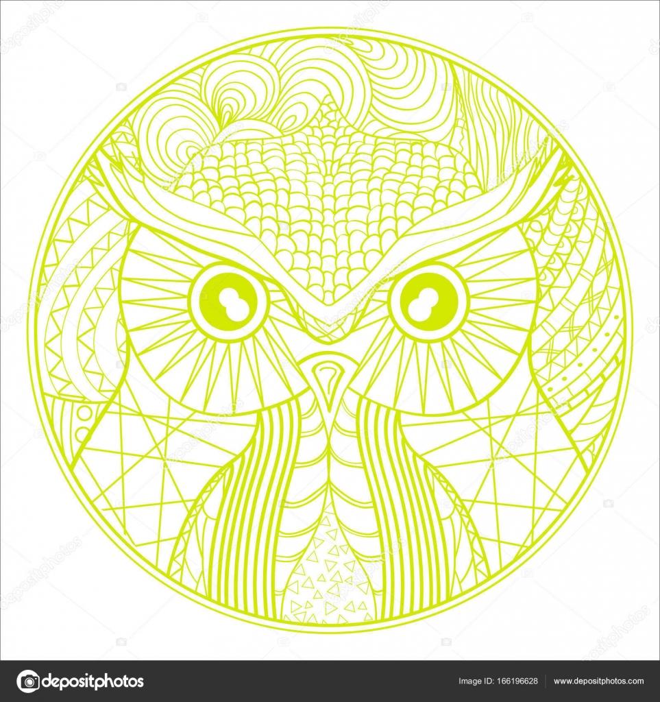 Imágenes Mandalas De Buhos A Color Mandala De Búho Vector De
