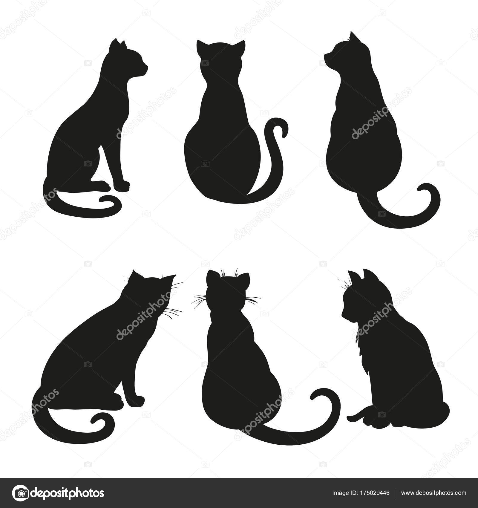 Siluetas De Gatos Para Recortar Icono Web Resumen Foto De Stock