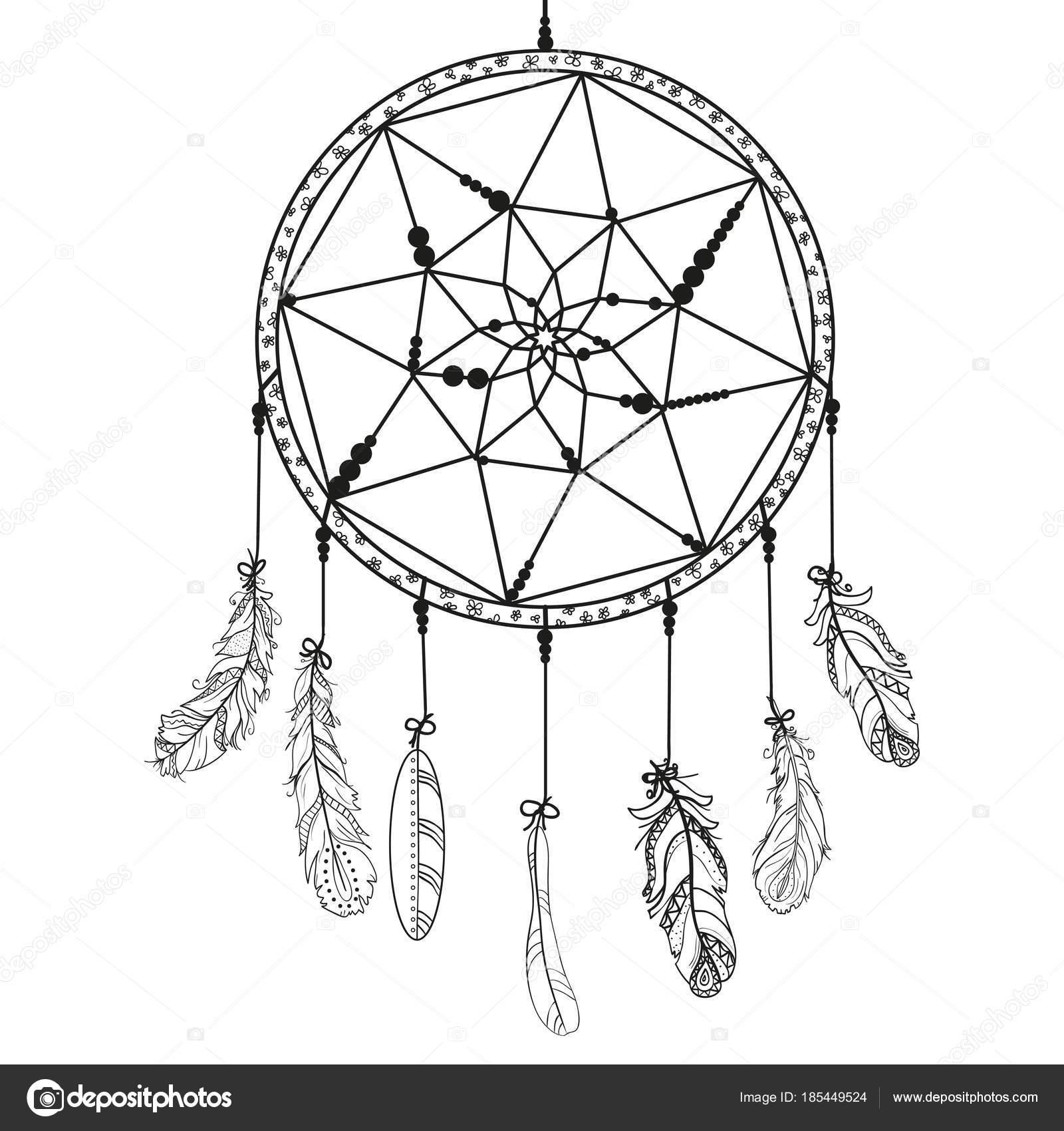 Atrapasueños Con Perlas Zentangle Resumen Símbolo Místico Símbolo ...