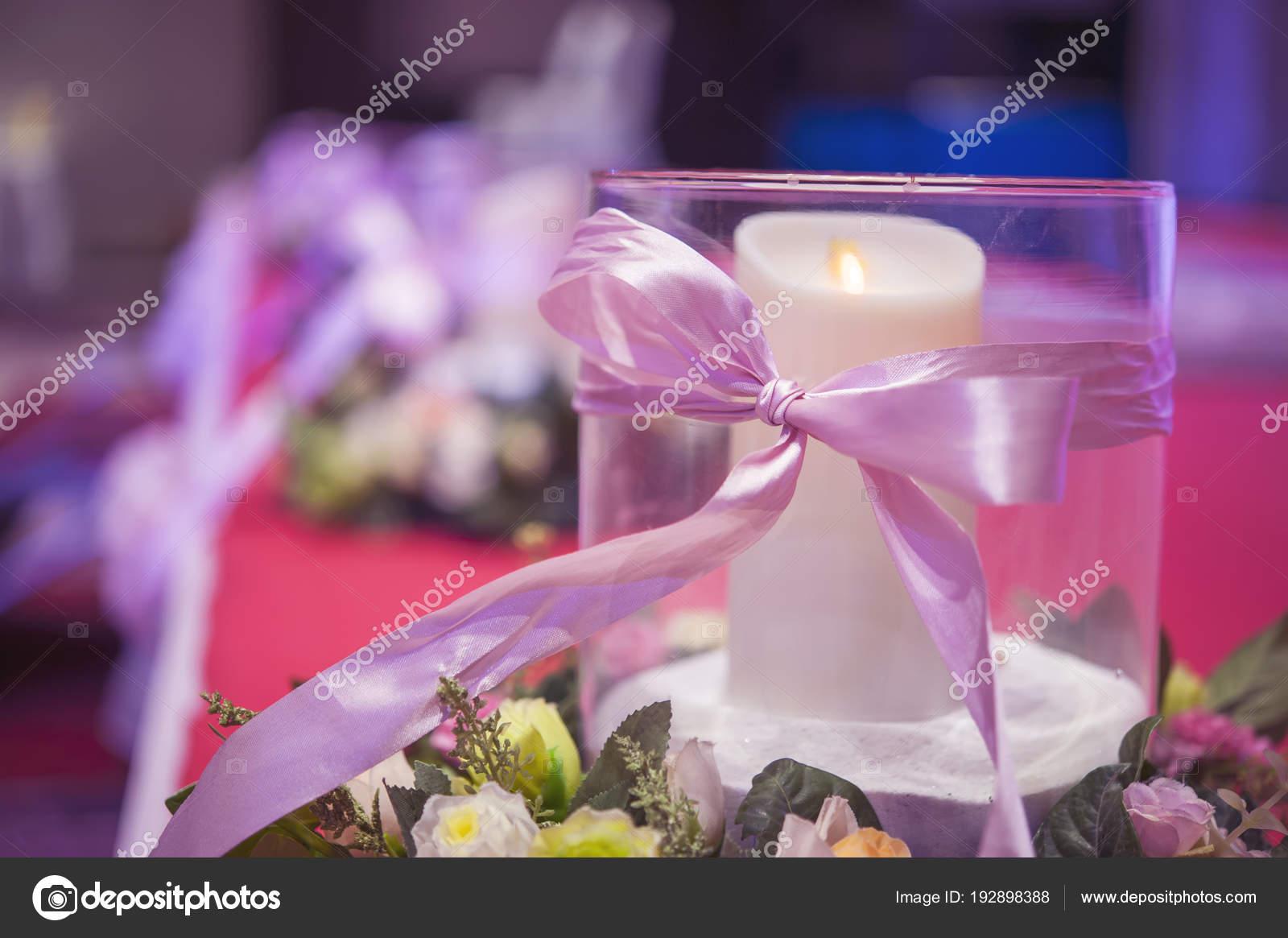 Hochzeit Party Dekoration Gesetzt Ein Glas Mit Weissen Kerze Und