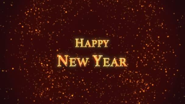 Šťastný nový rok pozdrav text pozadí s efektem bokeh a částicemi.