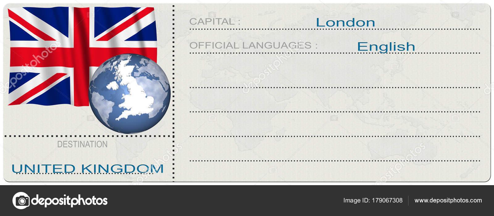 Illustration United Kingdom Great Britain Destination Ticket