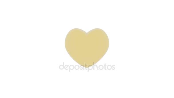 Videa. 3D obrázek... Malé červené srdce se točí kolem zlaté střední srdce. Symbol lásky a den svatého Valentýna
